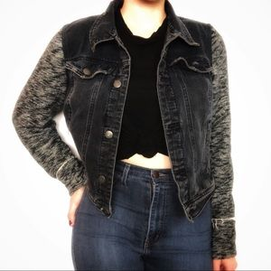 Free People Black Denim Jacket Fabric Sleeves